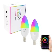 Immax NEO - 2xAmpoule LED RGB à intensité modulable E14/5W/230V + commande ZigBee