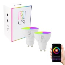 Immax NEO - 2xAmpoule LED RGB à intensité modulable GU10/3,5W/230V + commande ZigBee