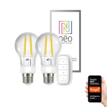 Immax NEO - SET 2x Ampoule LED à intensité modulable E27/6,3W/230V + télécommande