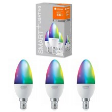 LOT 3x Ampoule LED RVBB à intensité variable SMART + E14 / 5W / 230V 2700K-6500K - Ledvance