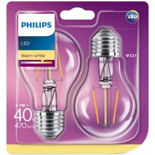 PACK 2x Ampoule LED Philips E27/4,3W/230V
