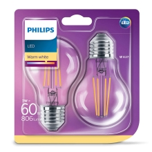 PACK 2x Ampoule LED VINTAGE Philips E27/7W/230V 2700K