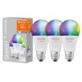 PACK 3x Ampoule à intensité variable LED RGB SMART+ E27/9,5W/230V 2700K-6500K Wi-Fi - Ledvance