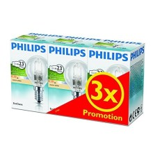 PACK 3x Ampoule halogène à intensité modulable Philips E14/18W/230V