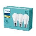 PACK 3x Ampoule LED Philips E27/9W/230V 2700K