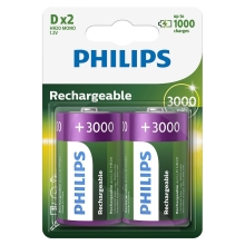 Philips R20B2A300/10 - 2 pc Pile rechargeable D MULTILIFE NiMH/1,2V/3000 mAh