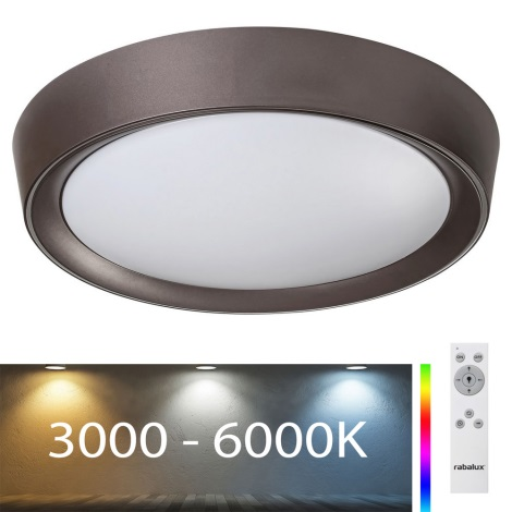 Rabalux - Plafonnier LED RVB à intensité variable LED/24W/230V + télécommande 3000-6000K