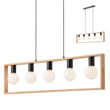 Redo 01-1666 - Suspension avec fil TIMBER 5xE27/42W/230V