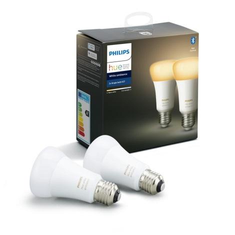 SET 2x Ampoule LED à intensité modulable Philips HUE WHITE AMBIANCE E27/8,5W/230V