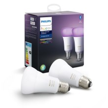 SET 2x Ampoule LED à intensité modulable Philips HUE WHITE AND COLOR AMBIANCE E27/9W/230V 2000-6500K