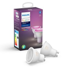 SET 2x Ampoule LED à intensité modulable Philips WHITE AND COLOR AMBIANCE GU10/5,7W/230V 2000-6500K